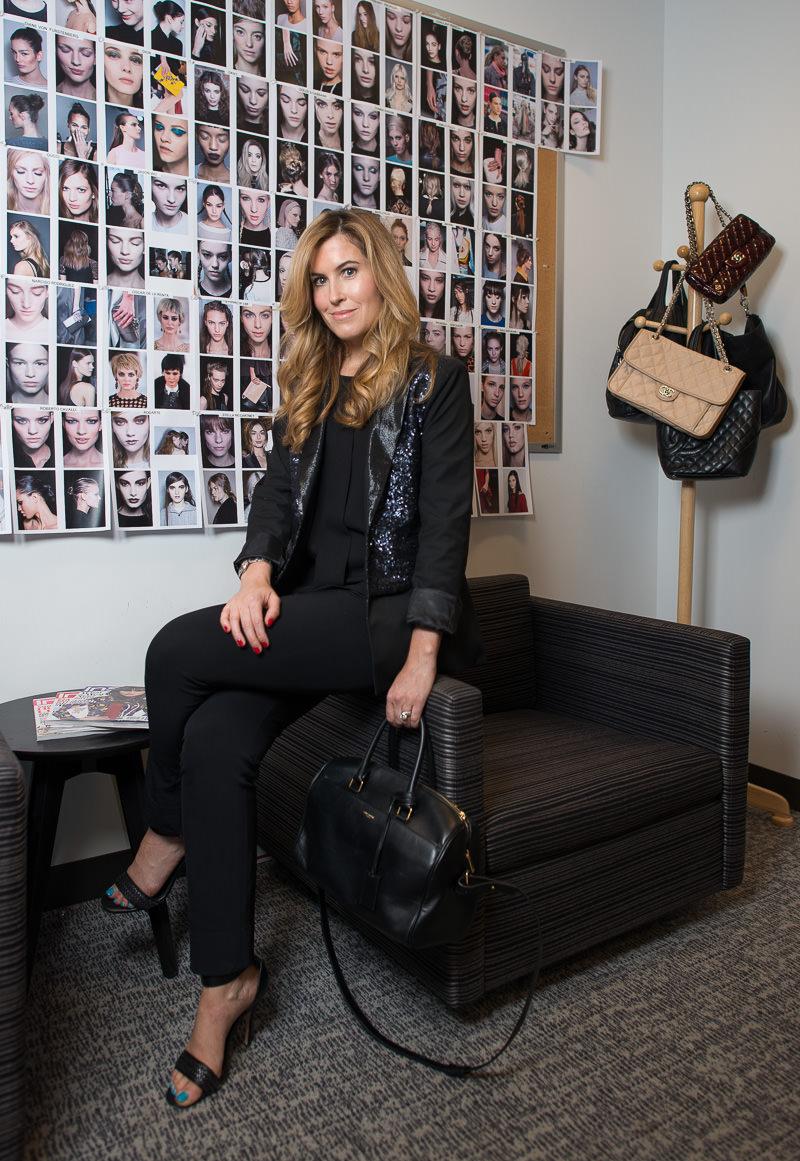 Saint Laurent Classic Duffle Bag $1,990 via Net-a-Porter, Elizabeth & James Blazer Similar via Shopbop, Zara Shirt, Theory Pants Similar via Saks, Pour la Victoire Shoes Similar via Nordstrom