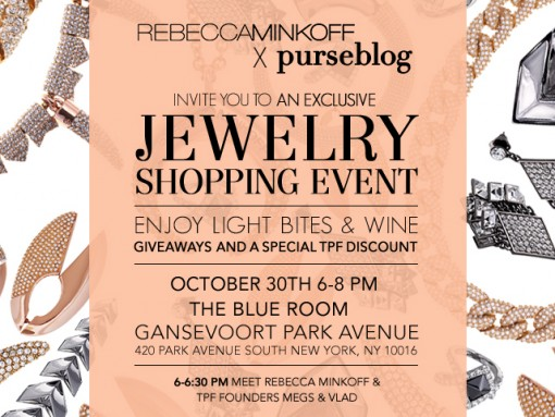 Just for us: Join PurseBlog + Rebecca Minkoff for drinks, jewelry, and fun!