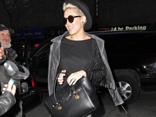 Miley Cyrus totes Versace in NYC