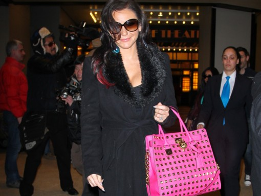 JWoww leaves VH1 studios with a bright, studded MICHAEL Michael Kors tote