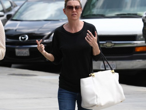Ellen Pompeo and her Lanvin bag look displeased by the paparazzi