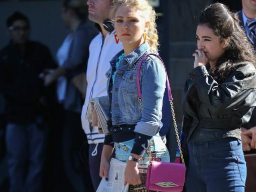 AnnaSophia Robb Carries a Diane von Furstenberg Bag on Set