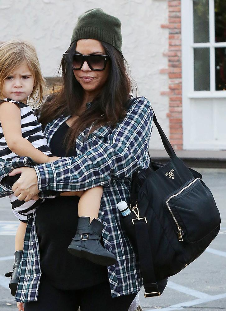Kourtney Kardashian out for breakfast with her kids in Calabasas