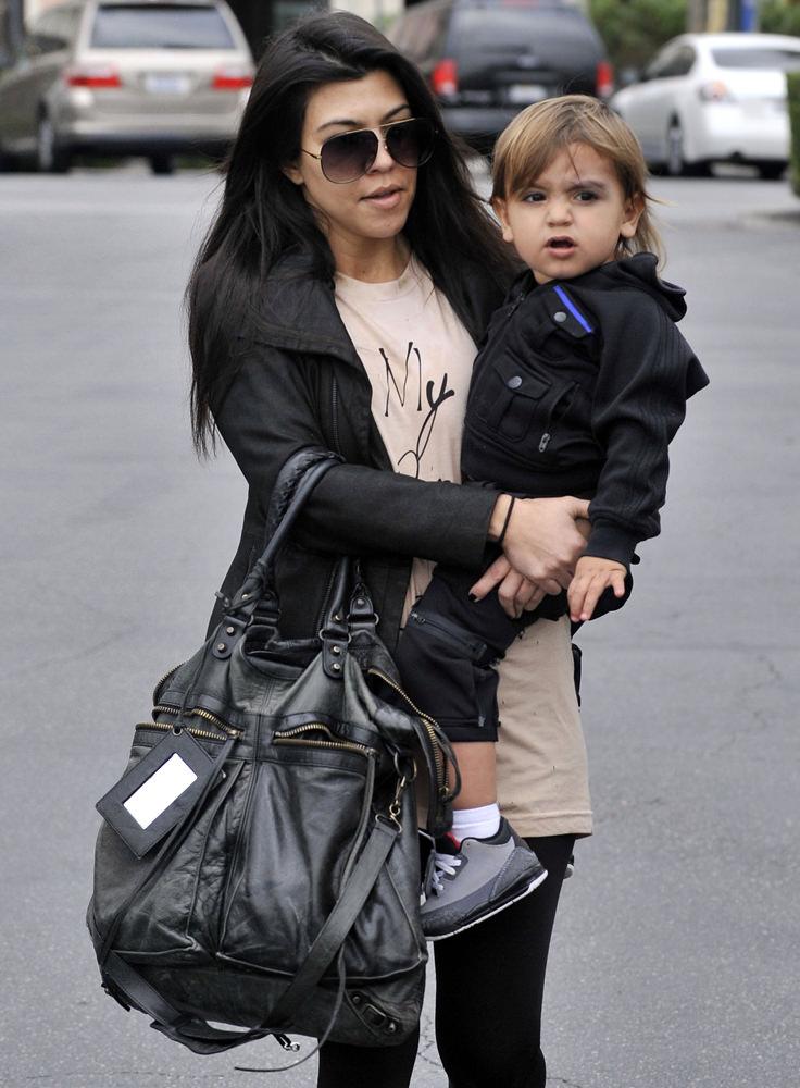 Kourtney kardashian and son Mason seen in Calabasas, CA.
