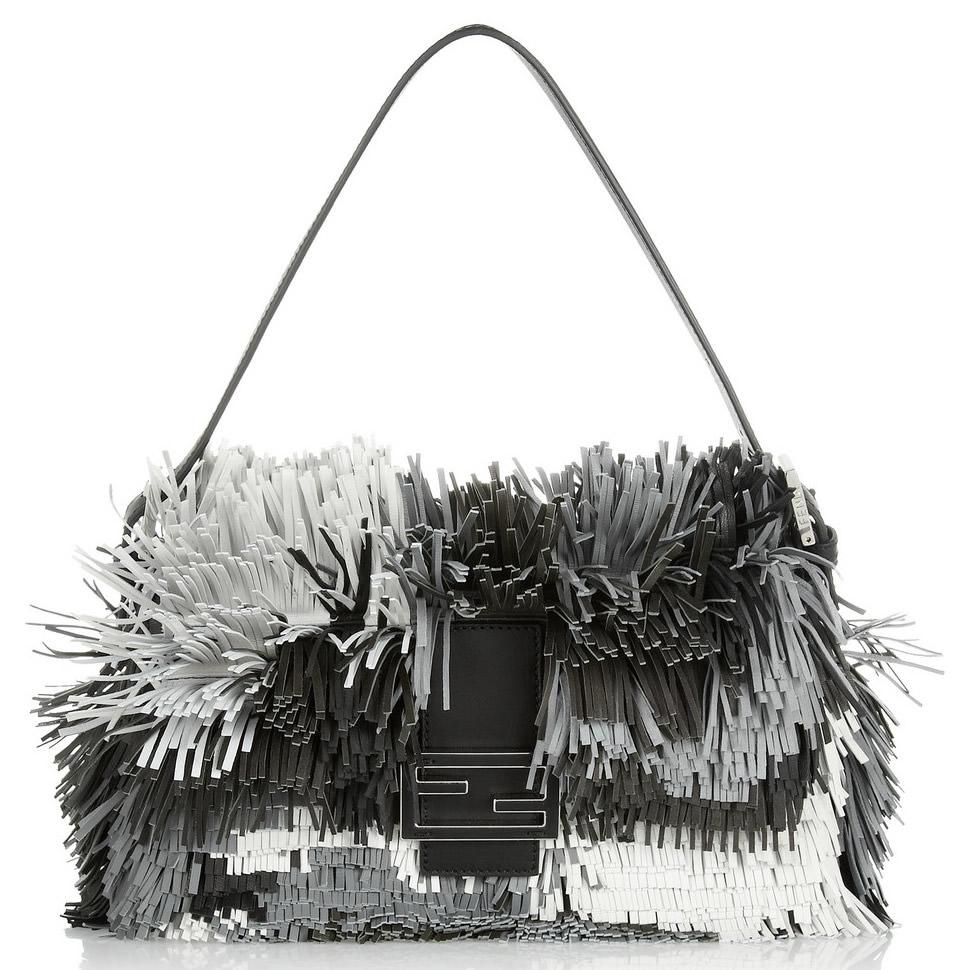 Fendi Baguette Fringed Leather Shoulder Bag