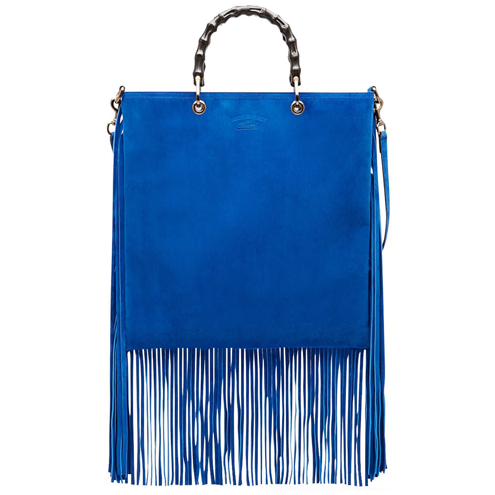 Gucci Bamboo Suede Fringe Shopper Tote Bag