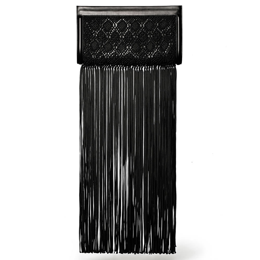 The Row Woven Wrap Clutch with Fringe