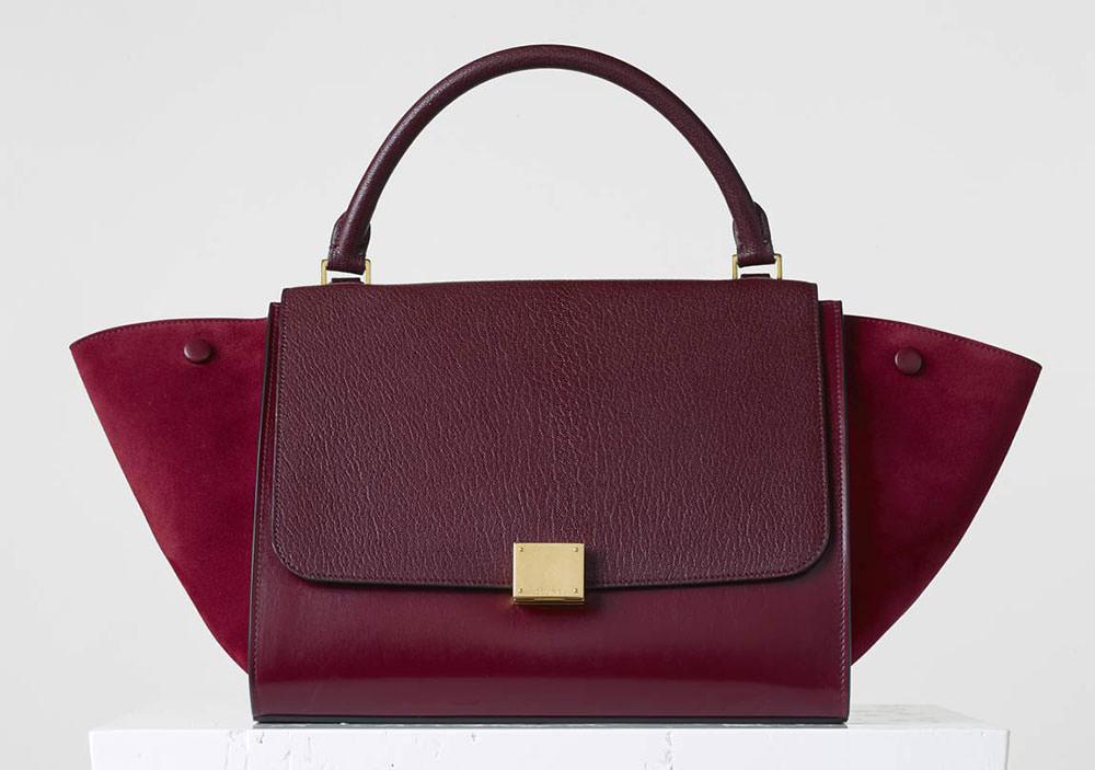 Celine-Medium-Trapeze-Bag-Burgundy
