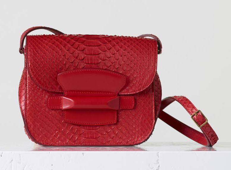 Celine-Small-Python-Tab-Bag-Red