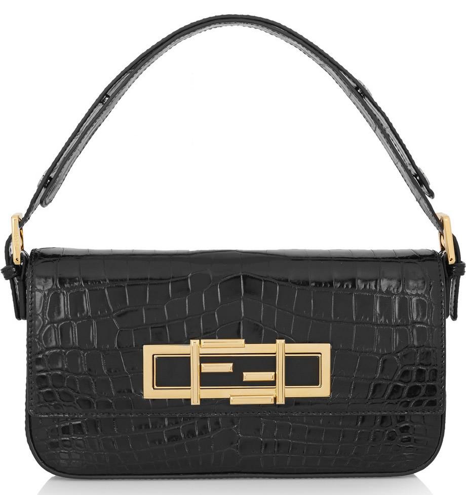 Fendi Baguette Crocodile Shoulder Bag
