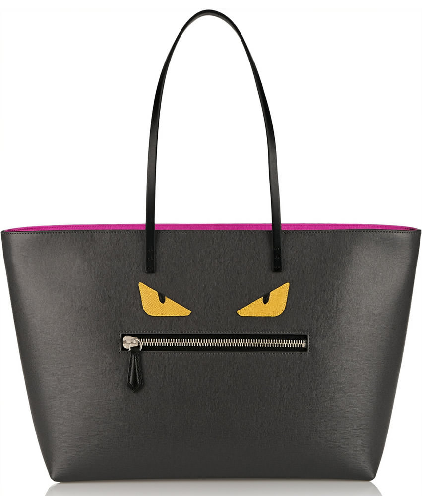 Fendi Roll Appliqued Textured-Leather Tote