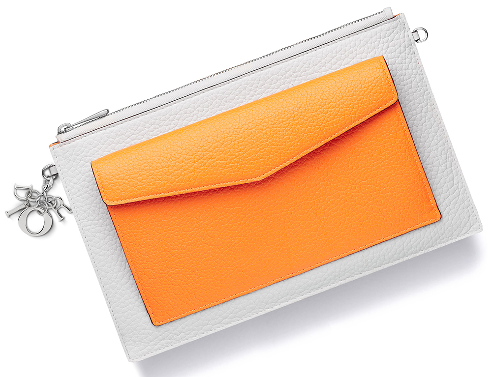 Christian-Dior-Diorissimo-Flat-Zipped-Pouch-Orange