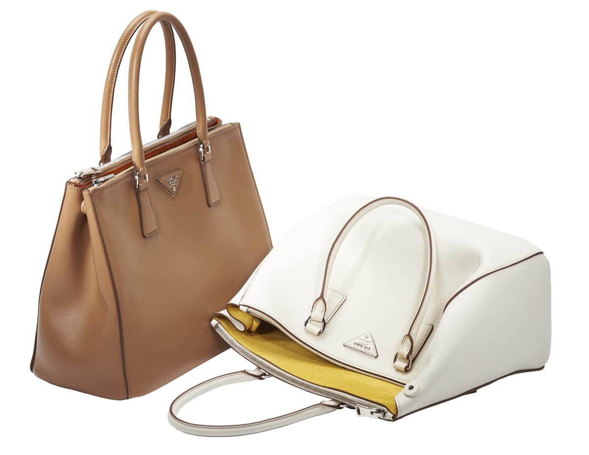 Prada Galleria Bags Tan and White