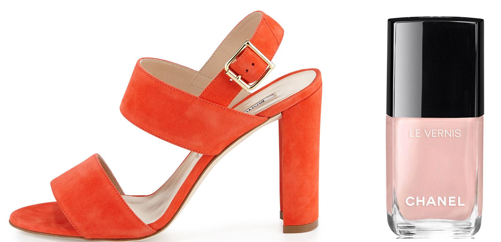 Manolo Blahnik Kahn Suede Double-Band Sandal $765 via Bergdorf Goodman Chanel Le Vernis Ballerina Nail Color $28 via Chanel