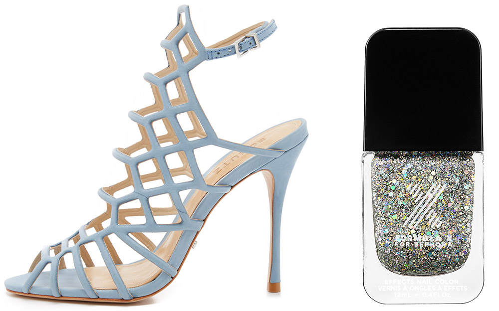 Schutz Juliana Caged Sandals $190 via ShopBop  Formula X Hubba Hubble  Silver Iridescent Glitter $12.50 via Sephora
