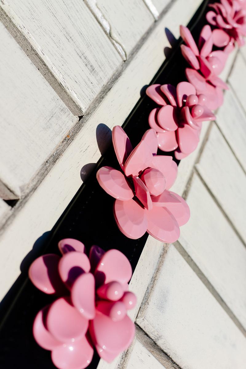 Prada Black Strap with pink plex flowers