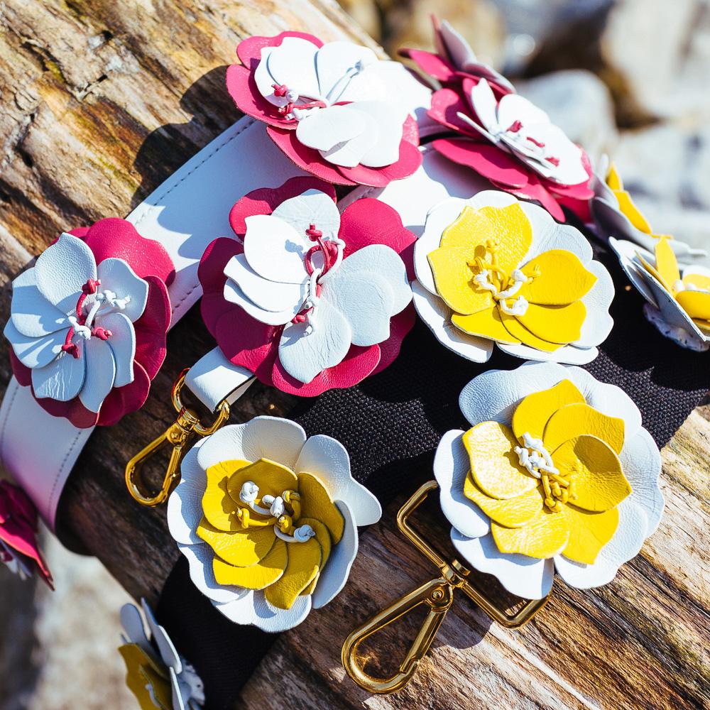 Prada Black Strap, white/yellow flowers - $800   Prada White Strap, pink/white flowers - $925