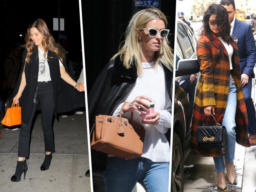 Celebs Endure Blustery Days with Versace, Goyard and FRAME