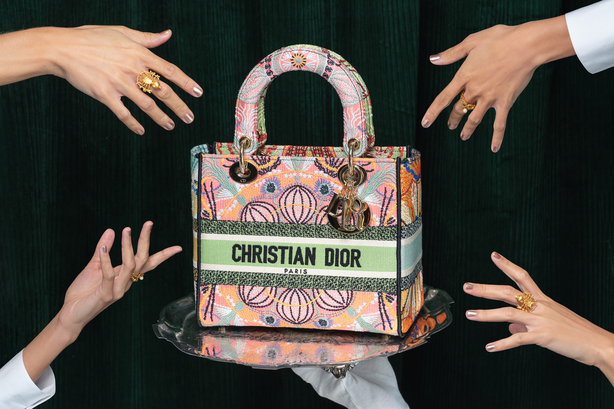 Medium Lady D-Lite Bag Multicolor Dior In Lights Embroidery