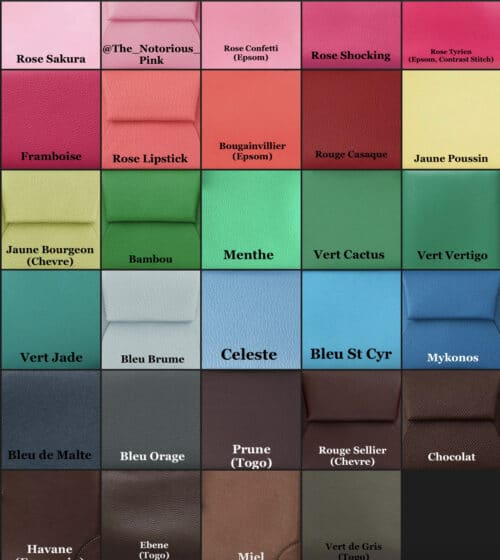 Hermès Spring-Summer 2021 Leather Colors. Composite via @The_Notorious_Pink