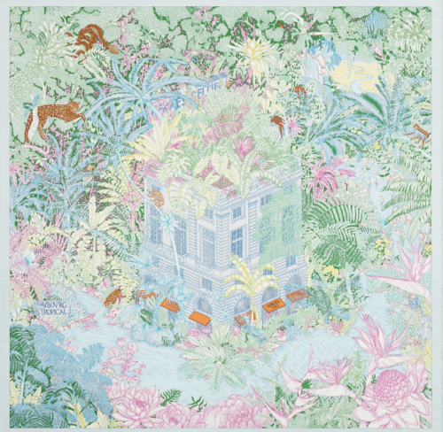 The lush design of Faubourg Tropical, a new design for Hermès Spring-Summer 2021 in 90cm silk. Photo courtesy of Hermès.