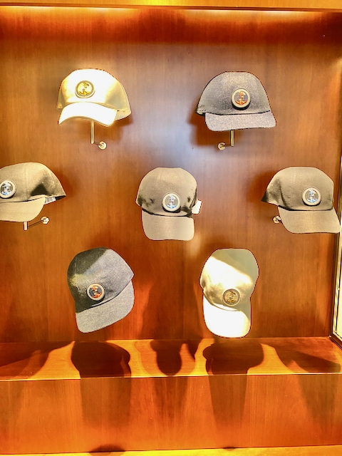 Baseball Caps on display at the Madison Avenue boutique. Photo via @The_Notorious_Pink