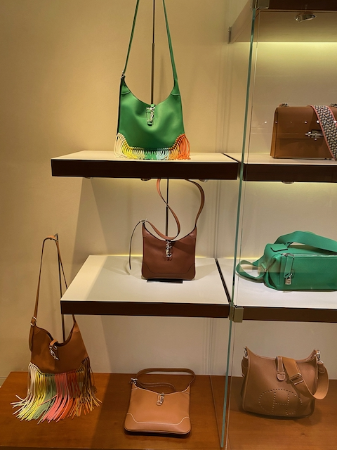 Fun Trim Bags on display recently at the Madison Avenue boutique. Photo via @The_Notorious_Pink
