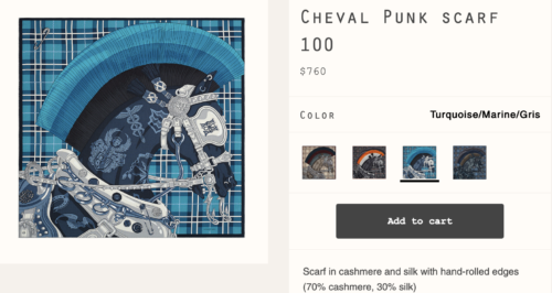 Cheval Punk 100 Scarf. Photo via Hermes.com