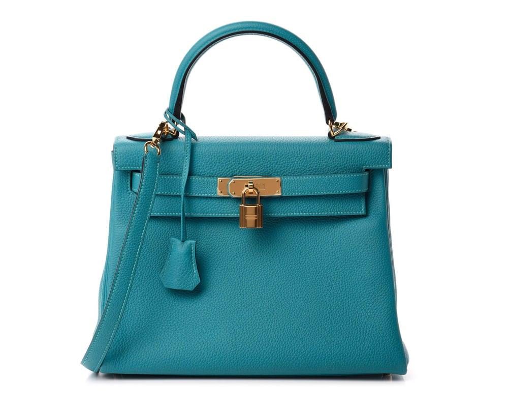 HERMES Togo Kelly Retourne 28 Turquoise