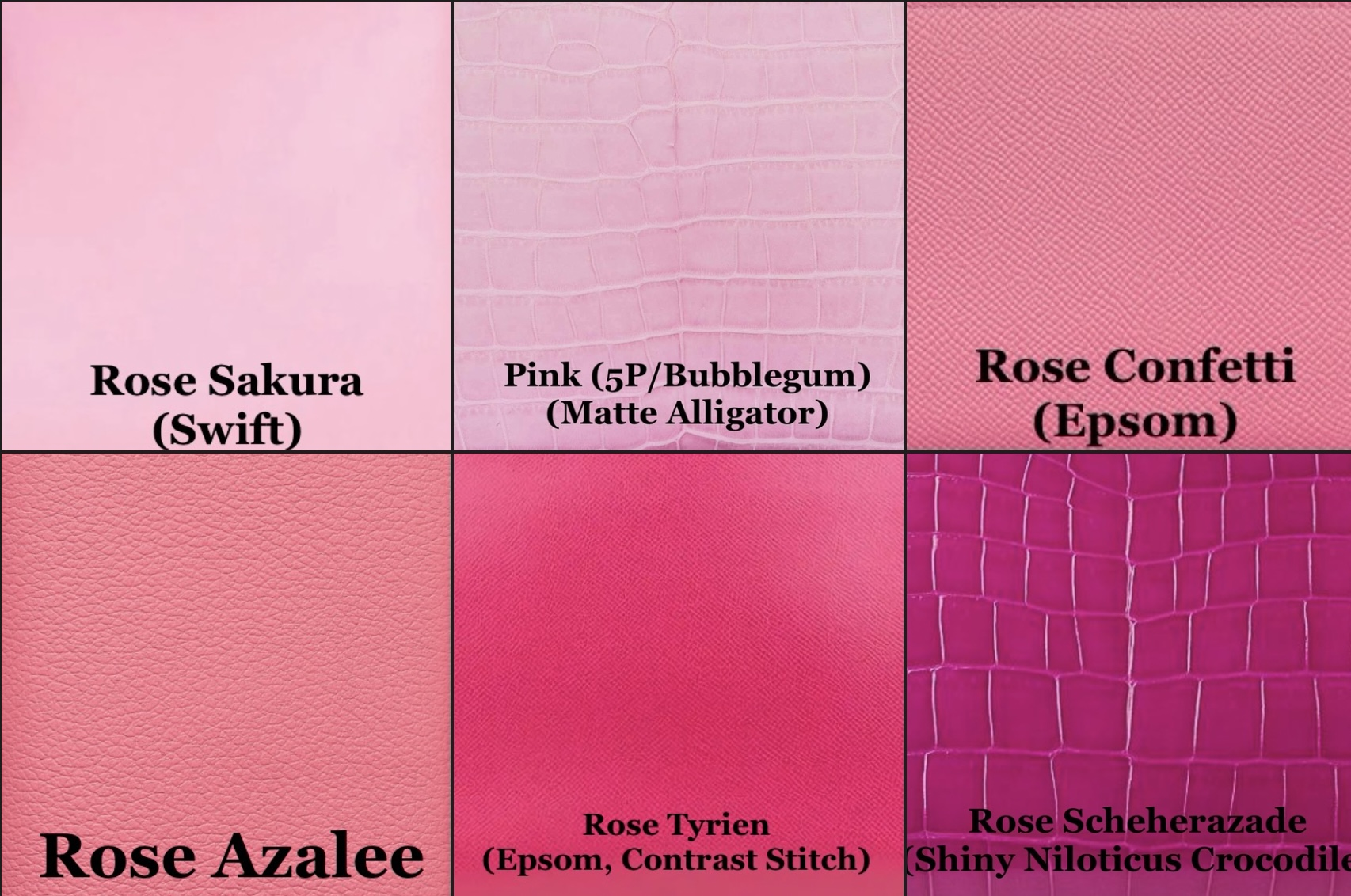 Some of the many popular shades of pink. Photo courtesy of @The_Notorious_Pink