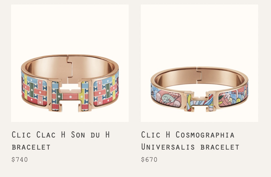 New Clic Enamel Bracelets currently available at Hermes.com.