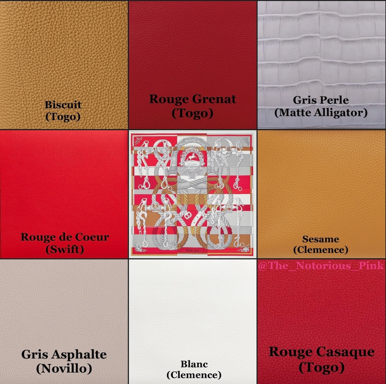 Leather matching suggestions with colors from the Autumn/Winter 2021 list, example 1.