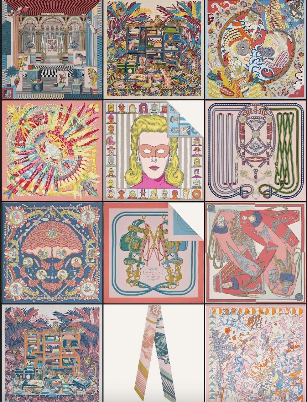 Top Row: Grand Theatre Nouveau scarf 90, Les 12 Leopards shawl 140, Duo Cosmique scarf 90. Second Row: Danse Pacifique scarf 90, Dress Code scarf 90, Grand Tralala scarf 90. Third Row: L'Ombrelle Magique shawl 140, Brides de Gala double face scarf 90, Zouaves et Dragons wash scarf 90. Bottom Row: Les 12 Leopards shawl 140, Ex Libris Twilly, L'Epopee d'Hermes Detail scarf 70. Photos via Hermes.com