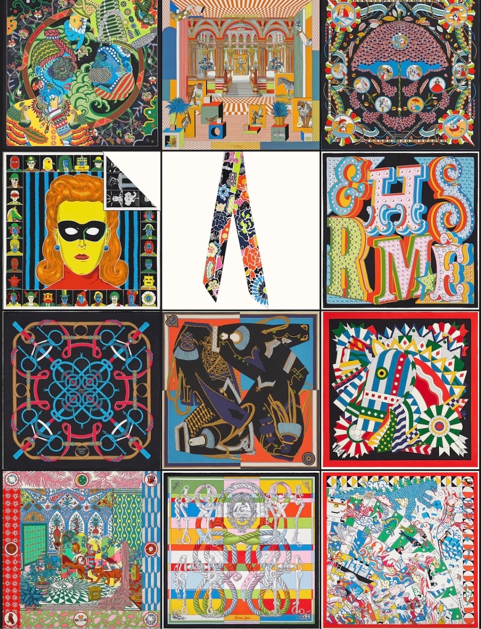 Top Row: Duo Cosmique scarf 90, Grand Theatre Nouveau scarf 90, L'Ombrelle Magique shawl 140. Second Row: Dress Code double face scarf 90, Bingata twilly, Hermes Electrique scarf 45. Third Row: Eperon d'Or shawl 140, Zouaves et Dragons wash scarf 90, Cheval de Fete shawl 140. Bottom Rpw: La Danse des Amazones shawl 140, Della Cavalleria scarf 45, L'Epopee d'Hermes Detail scarf 70. Photos via Hermes.com