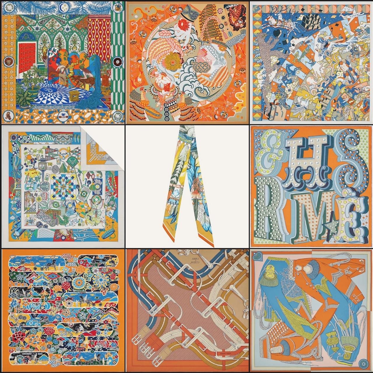 Top Row: La Danse des Amazones shawl 140, Duo Cosmique scarf 90, L'Epopee d'Hermes Detail scarf 70. Middle Row: De l'Ombrelle aux Duels double face scarf 90, Danse Pacifique twilly, Hermes Electrique scarf 45. Bottom Rpw: Bingata shawl 140. Mors a Jouets Chemise Detail wash scarf 90, Zouaves et Dragons wash scarf 90. Photos via Hermes.com
