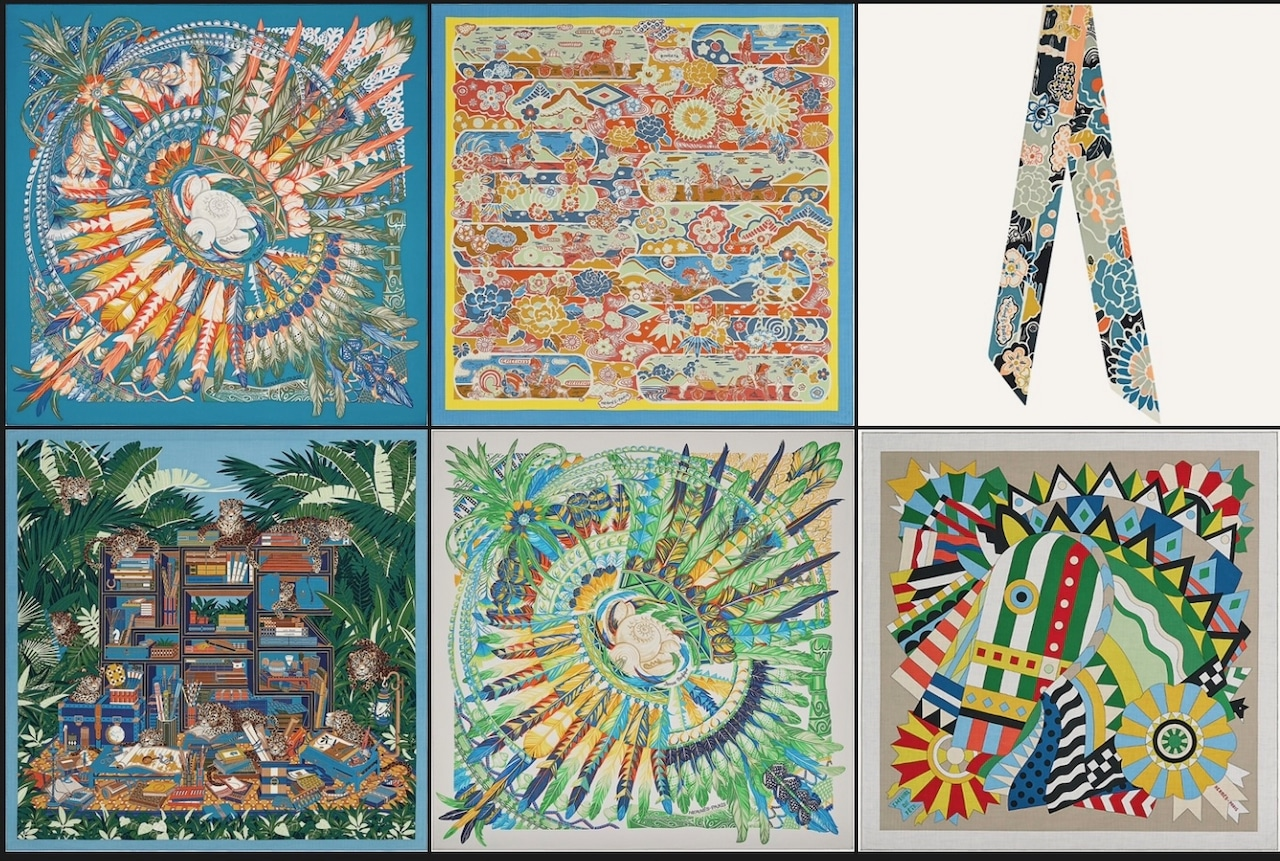 Top Row: Dance Pacifique scarf 90, Bingata shawl 140, Bingata twilly. Bottom Row: Les 12 Leopards shawl 140, Danse Pacifique scarf 90, Cheval de Fete shawl 140. Photos via Hermes.com